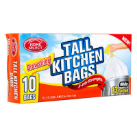 Home Select Tall Kitchen Bags,13 Gallon, White 10 Ea [808829100839]