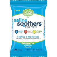 Saline Soothers Nose Wipes, Soothe & Moisturize with Aloe, Chamomile, & Vitamin E, Fragrance Free 20 ea [814521011267]