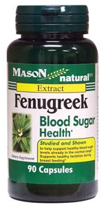 Mason Natural Fenugreek Blood Sugar Health Capsules 90 ea [311845160300]