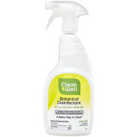 CleanWell Botanical Disinfectant All-Purpose Cleaner, Lemon Scent 26 oz [893481001709]