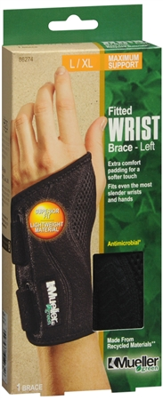 Mueller Green Fitted Wrist Brace Left L/XL 1 Each [074676862743]