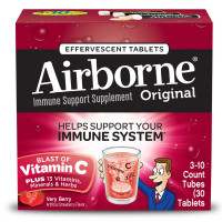 Airborne Very Berry Effervescent Tablets, 1000mg of Vitamin C - Immune Support Supplement 30 ea [647865963790]