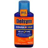 Delsym Adult Night Time Cough and Cold Liquid, Mixed Berry Flavor, 6 oz [363824211664]