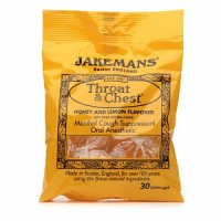 Jakemans Throat & Chest Lozenges Honey & Lemon Menthol 30 ea [0895164002584]