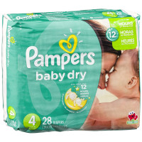 Pampers Baby Dry Diapers, Size 4 28 ea [037000862116]