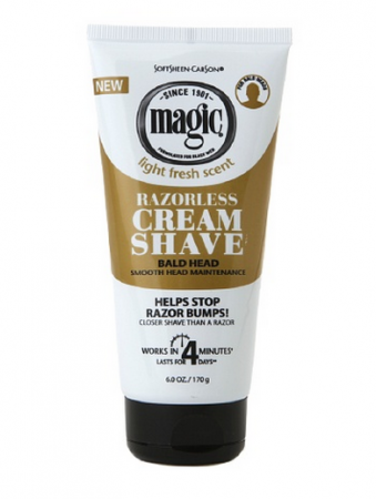 Magic Shave Razorless Cream Shave, Bald Head Smooth Head Maintenance, Light Fresh Scent 6 oz [072790000218]