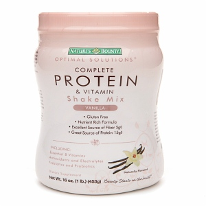 Nature's Bounty Optimal Solutions Complete Protein & Vitamin Shake Mix, Vanilla 16 oz [074312508752]