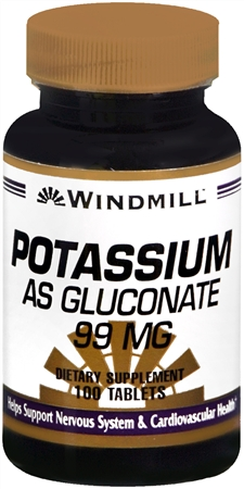 Windmill Potassium Gluconate 99 mg Tablets 100 Tablets [035046003487]