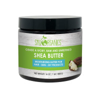 Sky Organics Grade A Ivory, Raw, & Unrefined Moisturizing Shea Butter for Hair & Skin, 1 lb. [856045007005]