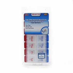 Ezy Dose AM/PM Push Button Pill Reminder 7 Day XL 1 Each [025715675855]