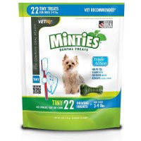 VetIQ Minties Bones Dental Treats for Dogs, Tiny Size Dogs 22 ea [818145010408]