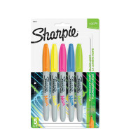 Sharpie Neon Permanent Markers, Fine Point, Assorted Colors 5 ea [071641064119]