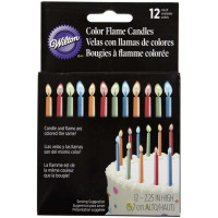 Wilton Color Flame Candles 12 ea [070896281111]