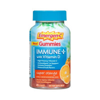 Emergen-C Immune+ Gummies Immune System Support with 500mg Vitamin C Dietary Supplement, Caffeine Free, Gluten Free, Super Orange, 45 ea [885898100458]