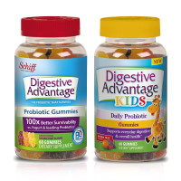 Digestive Advantage Probiotic Gummies, Natural Fruit, Kids 60 Ct & Adults 60 Ct, 1 Ea [191897826252]