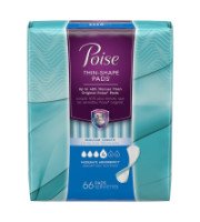 Poise Thin-Shape Incontinence Pads, Moderate Absorbency, Regular, 66 ea [036000431186]