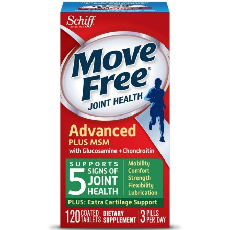 Move Free Advanced Glucosamine Chondroitin MSM and Hyaluronic Acid Joint Supplement, 120 ct [020525118684]