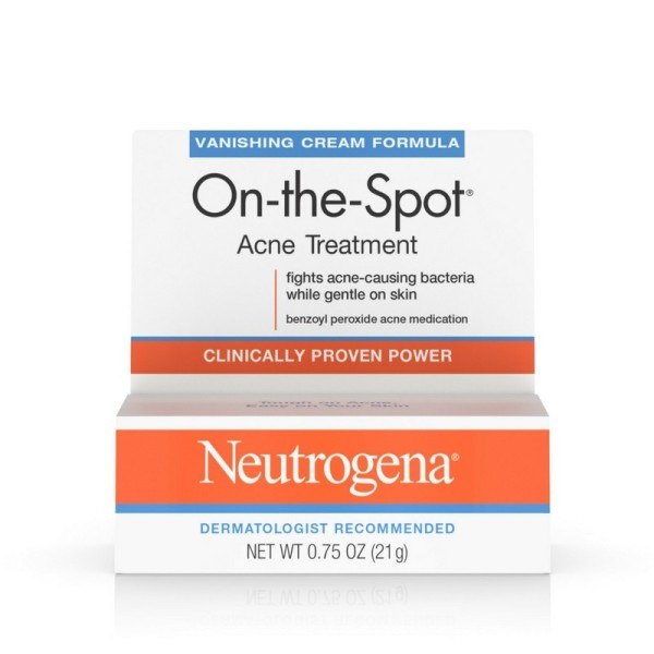 Neutrogena On-The-Spot Acne Treatment Vanishing Cream Formula 0.75 oz (Pack of 4) Very Clear Acne Facial Scrub - 4 fl. oz. by DERMA-E (pack of 2)