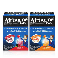 Airborne Plus Beta-Immune Booster, Zesty Orange 7 Ct Packets & Very Berry 7 Ct Packets, 1 ea [191567545940]