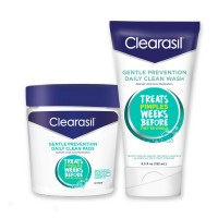 Clearasil Gentle Prevention Daily Acne Kit With Oil-Free Facial Cleansing Pads 90 ct & Clean Face Wash 6.5 oz - 1 ea [191897291395]