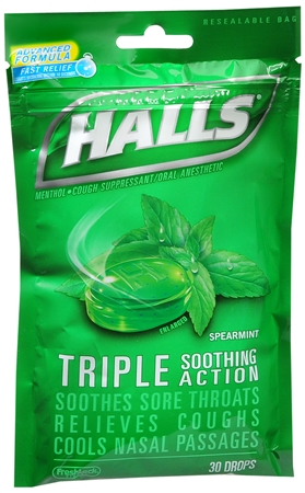 Halls Mentho-Lyptus Drops Spearmint 30 Each [312546627420]