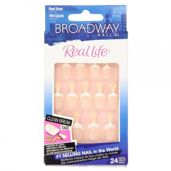 KISS Broadway Nails Real Life French Nail Kit, Real Short, Pink 1 ea ...
