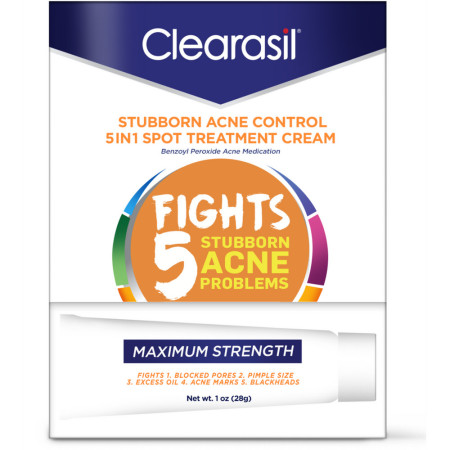 Clearasil Stubborn Acne Control 5 in 1 Spot Treatment Cream, 1 oz [839977008050]