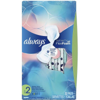 Always Infinity Unscented FlexFoam Pads With Wings For Heavy Flow, Size 2, 32 ea [037000117179]