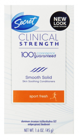 Secret Clinical Strength Anti-Perspirant Deodorant Smooth Solid Sport Fresh, 1.60 oz [037000195504]