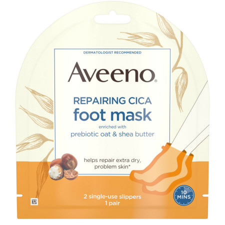 Aveeno Repairing CICA Foot Mask with Prebiotic Oat and Shea Butter, Moisturizing Foot Mask for Extra Dry Skin, 2 Single-Use Slippers 1 ea [381371181438]