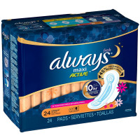 Always Fresh Maxi Active Overnight Pads with Flexi-Wings 24 ea [037000110798]