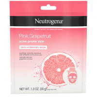 Neutrogena Pink Grapefruit 100% Hydrogel Face Mask Acne Prone Skin Naturally Grapefruit Extract, Single-Use Refreshing & Soothing  1.1  oz [070501100585]