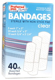 Bandages  Clear Adhesive Sterile with Non-Stick Pads, Assorted Size 40 ea [616784369099]
