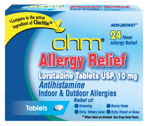 ohm Loratadine Usp 10 mg Allergy Relief Tablets 10 ea [051660526119]