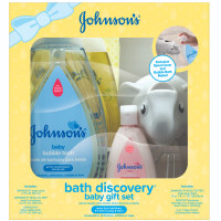 JOHNSON'S Bath Discovery Baby Gift Set, Baby bath Essentials For Parents To Be 6 Items [381371177455]