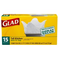 Glad Quick Tie Tall Kitchen Bags, 13 Gallons, White 15 ea [012587000700]