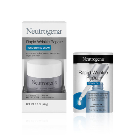 Neutrogena Rapid Wrinkle Repair Face Oil Retinol SA Serum for Face, 1.0 fl. Oz, and Neutrogena Rapid Wrinkle Repair Retinol 1.7 oz 1 ea [191567499489]